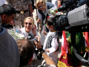 EU Commissioner Benita Ferrero-Waldner arrives in Kunduz